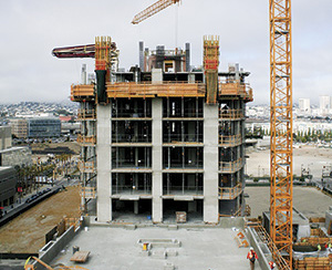 Building with concrete columns under construction. Image courtesy of Swanson Group Mfg. LLC