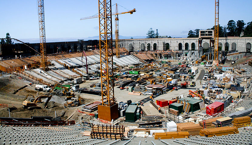 Construction of California Memorial Stadium at University of California, Berkeley.