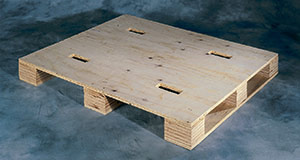 Plywood block pallet with unidirectional plywood bottom